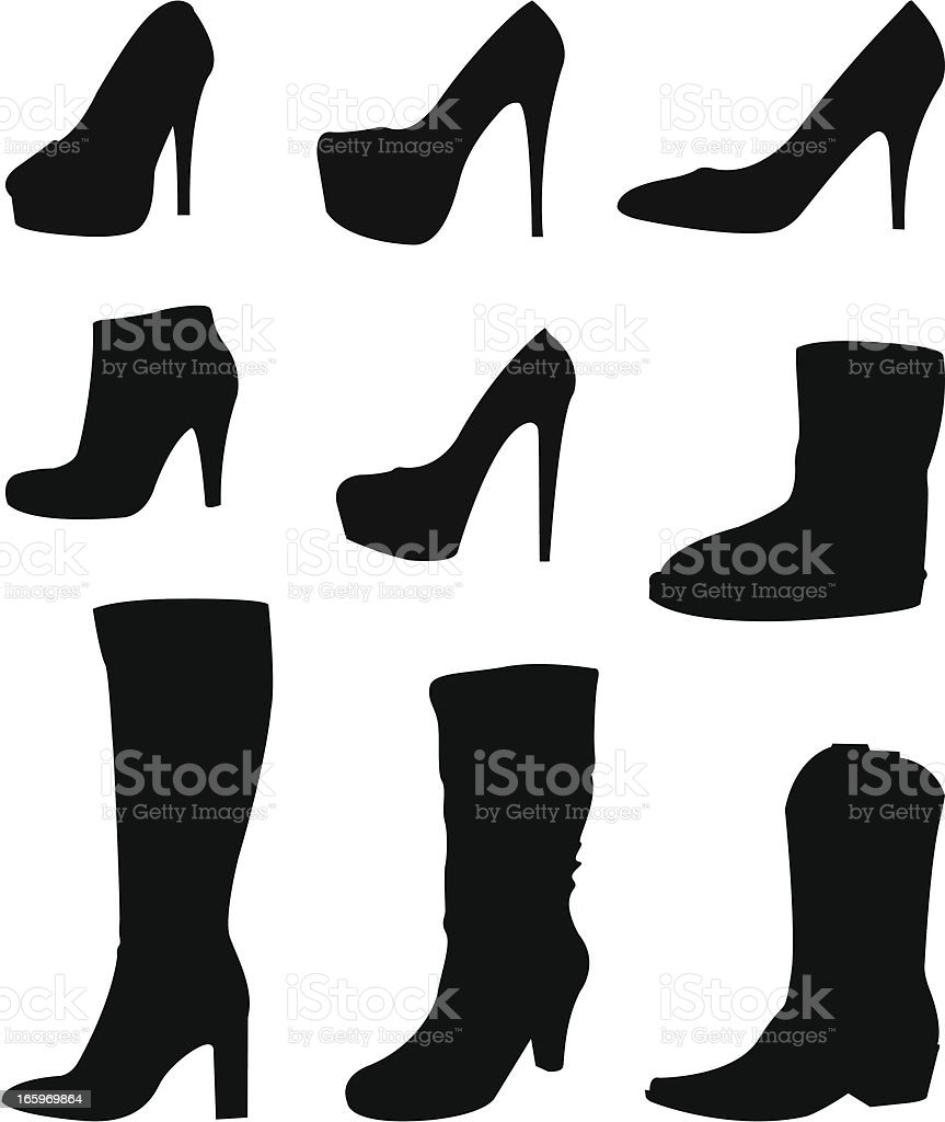 shoes and boots vector art illustration