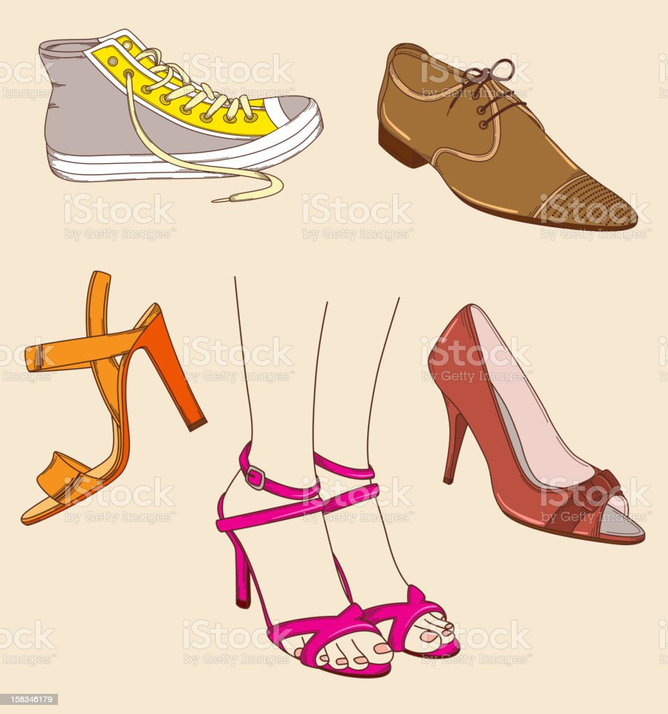 Shoes and legs royalty-free stock vector art