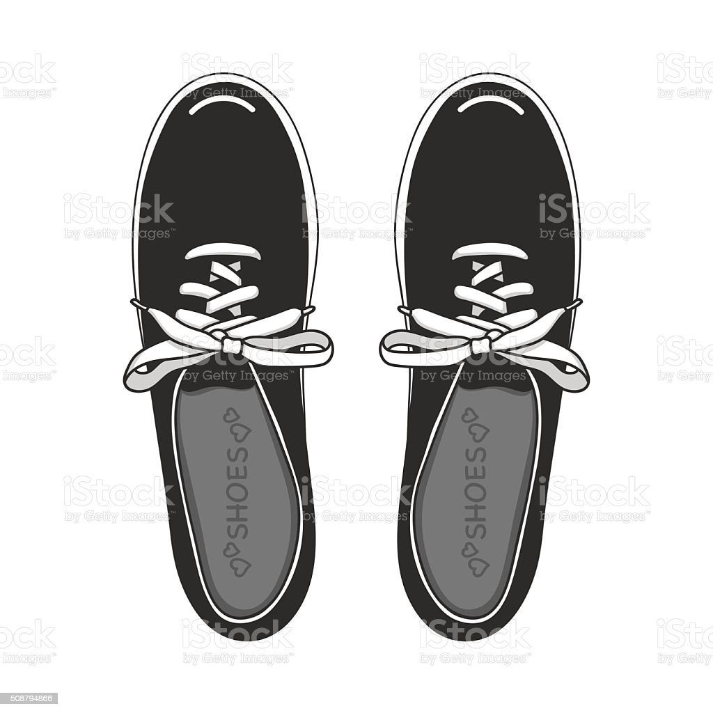 Shoes black and white vector art illustration