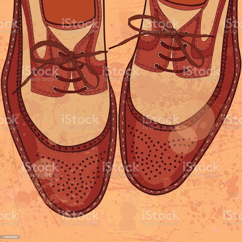 Shoes for men on grunge background vector art illustration