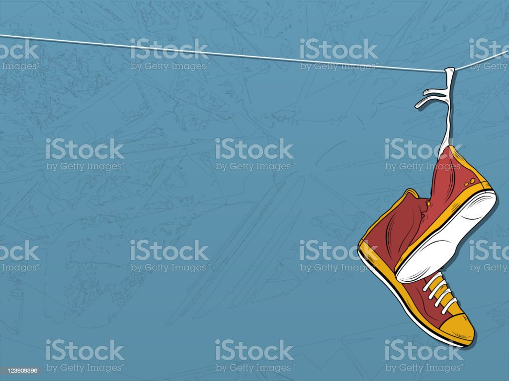 Shoes hanging on wire background. royalty-free stock vector art