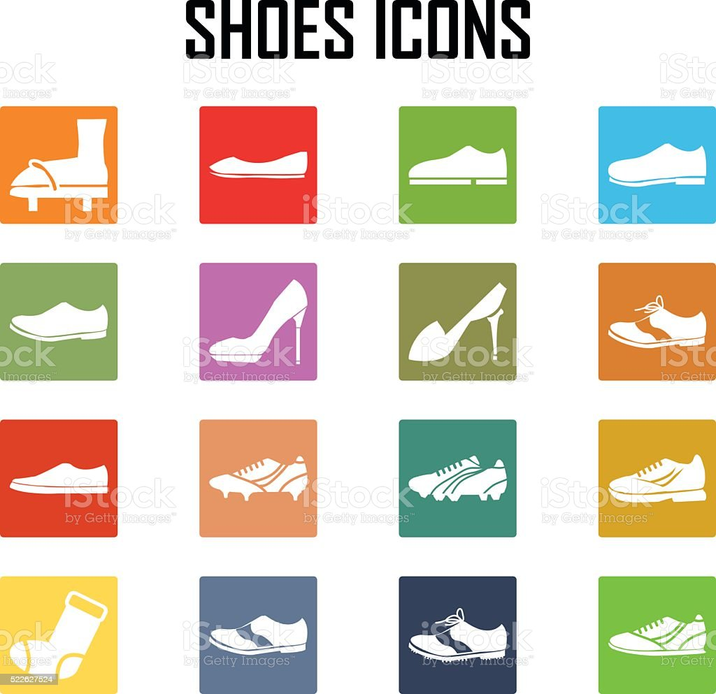 shoes icon set vector art illustration