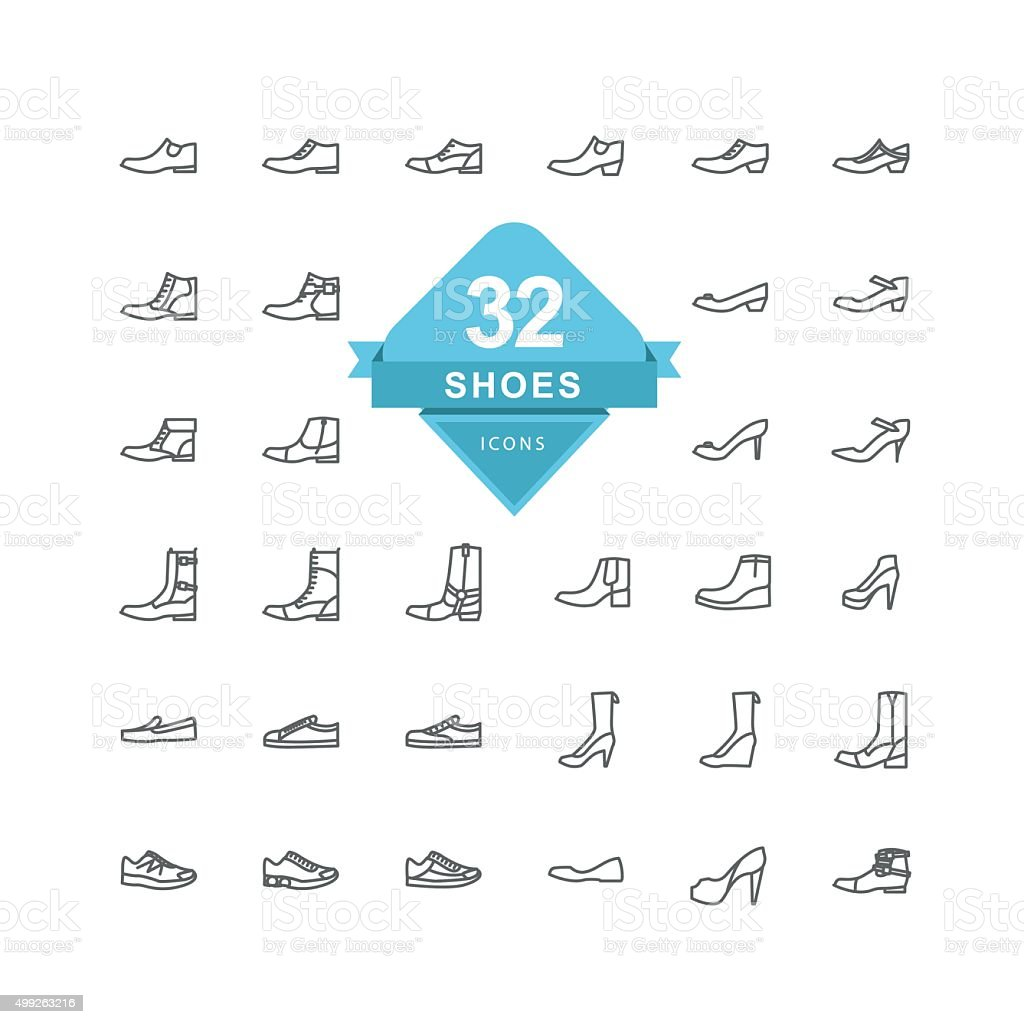 Shoes Icons ( Line Icon ) vector art illustration