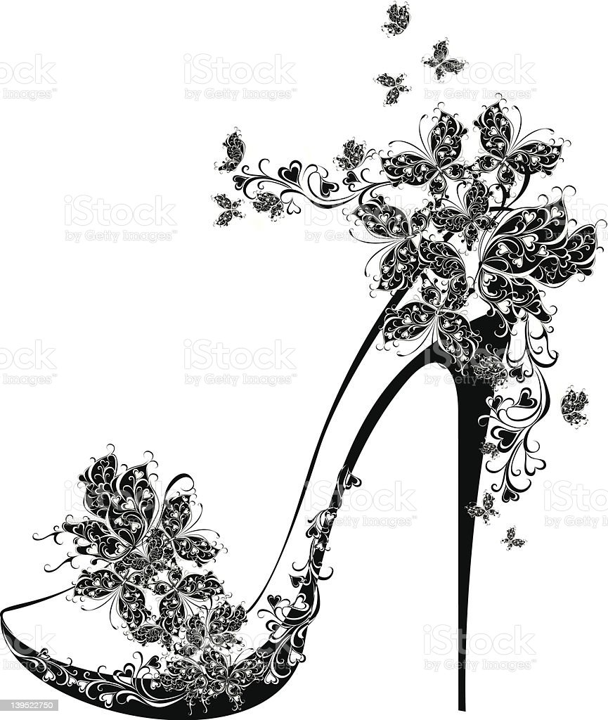 Shoes on a high heel decorated with butterflies royalty-free stock vector art