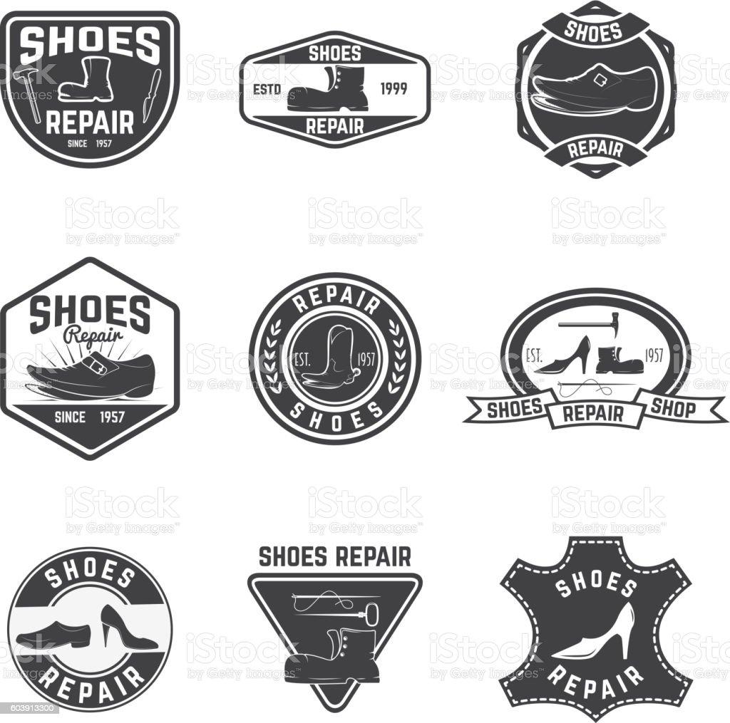 Shoes repair labels. design elements for logo, label, emblem, si vector art illustration