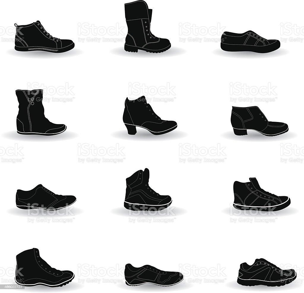 Shoes silhouette vector art illustration