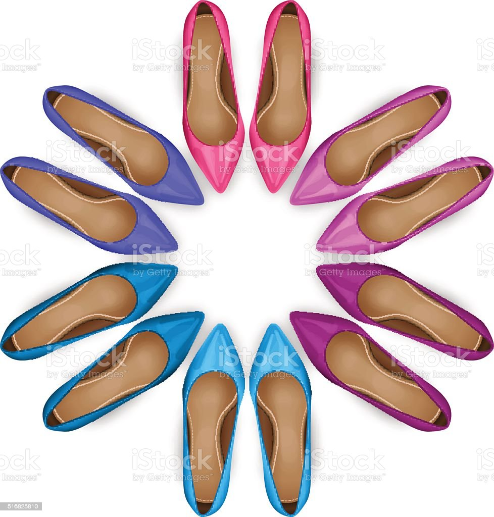 Shoes Top View vector art illustration