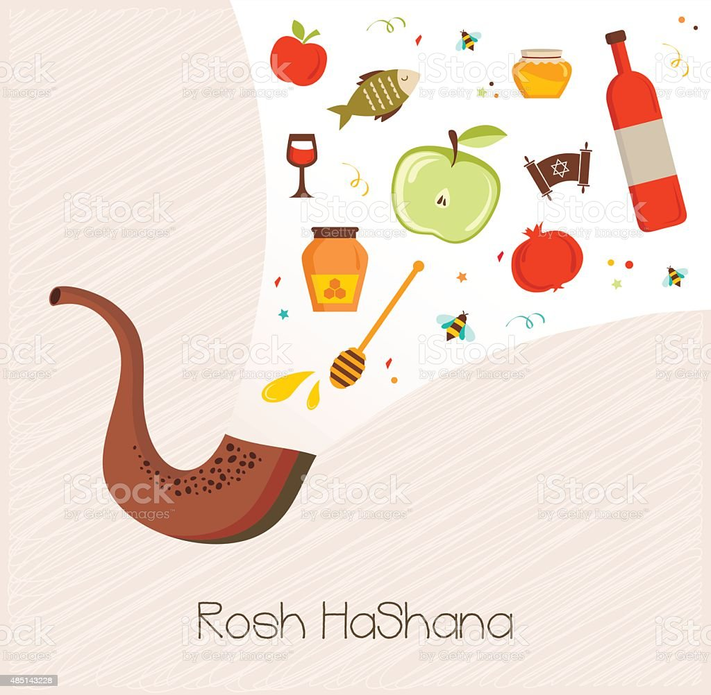shofar with set of icons for  rosh hashanah vector art illustration