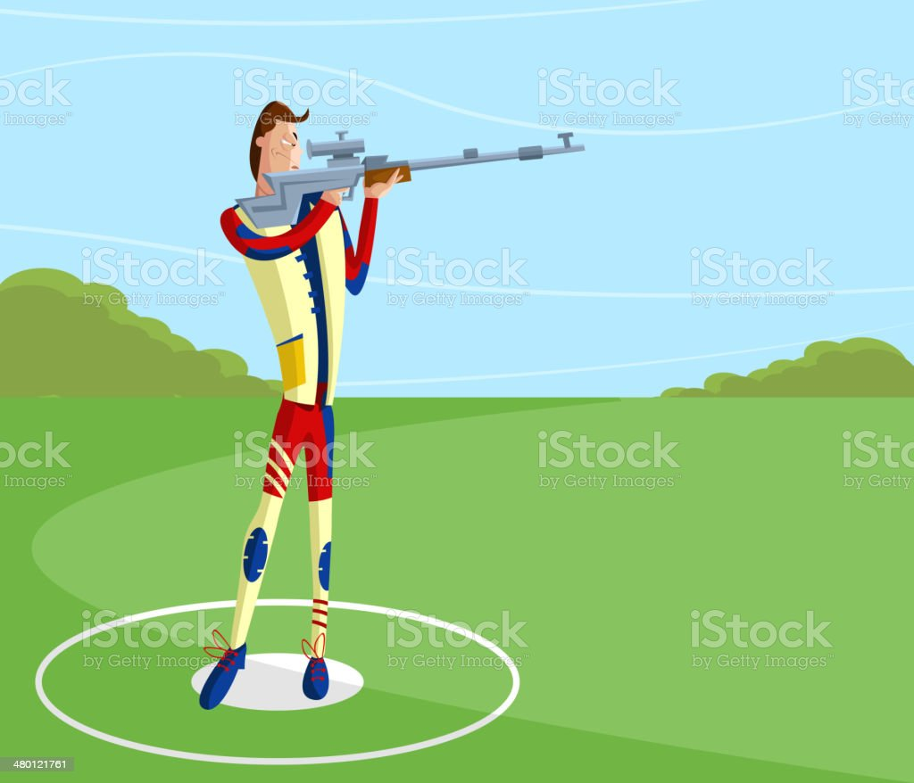 Shooter making aim royalty-free stock vector art