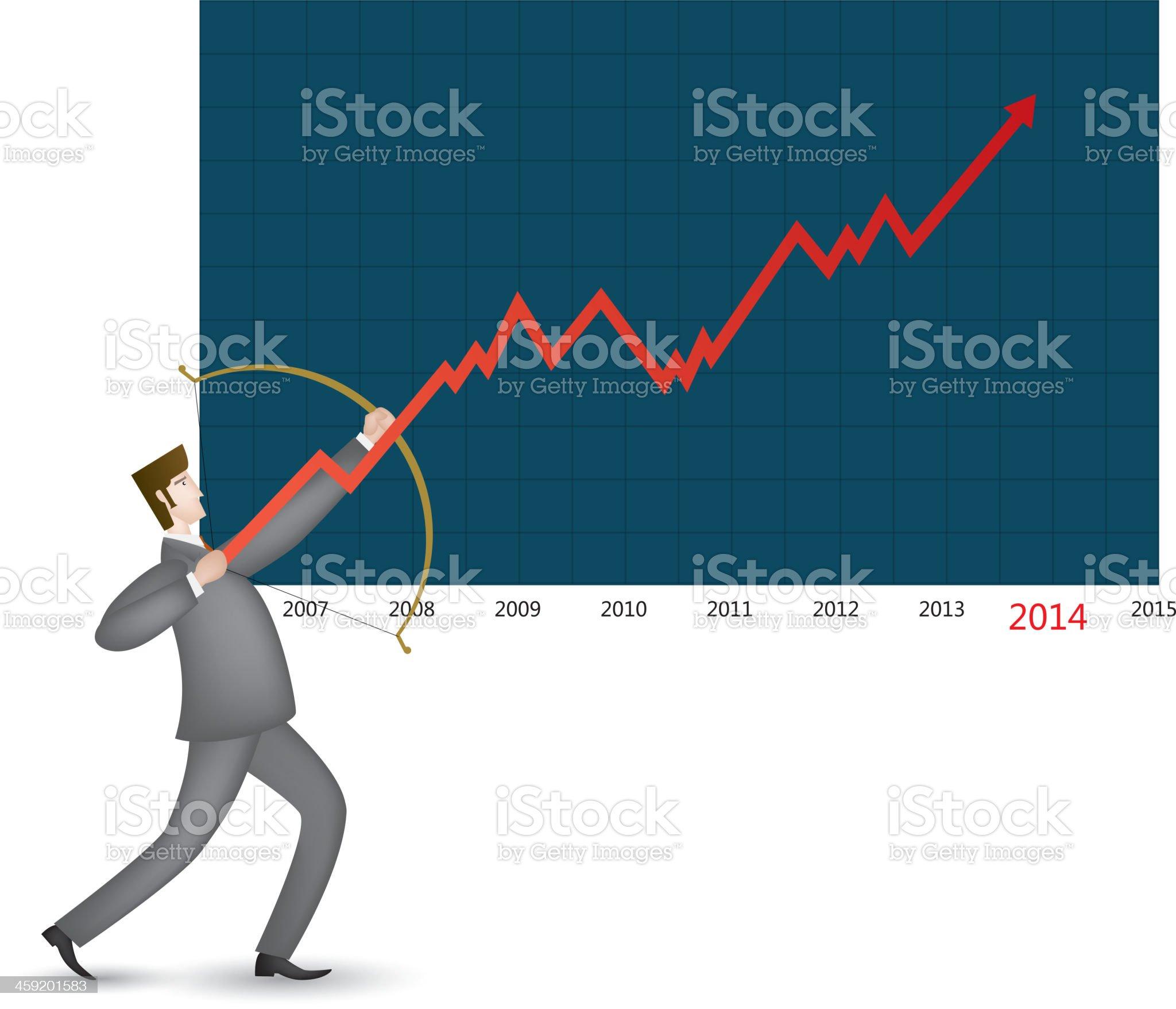 Shooting a growth arrow royalty-free stock vector art