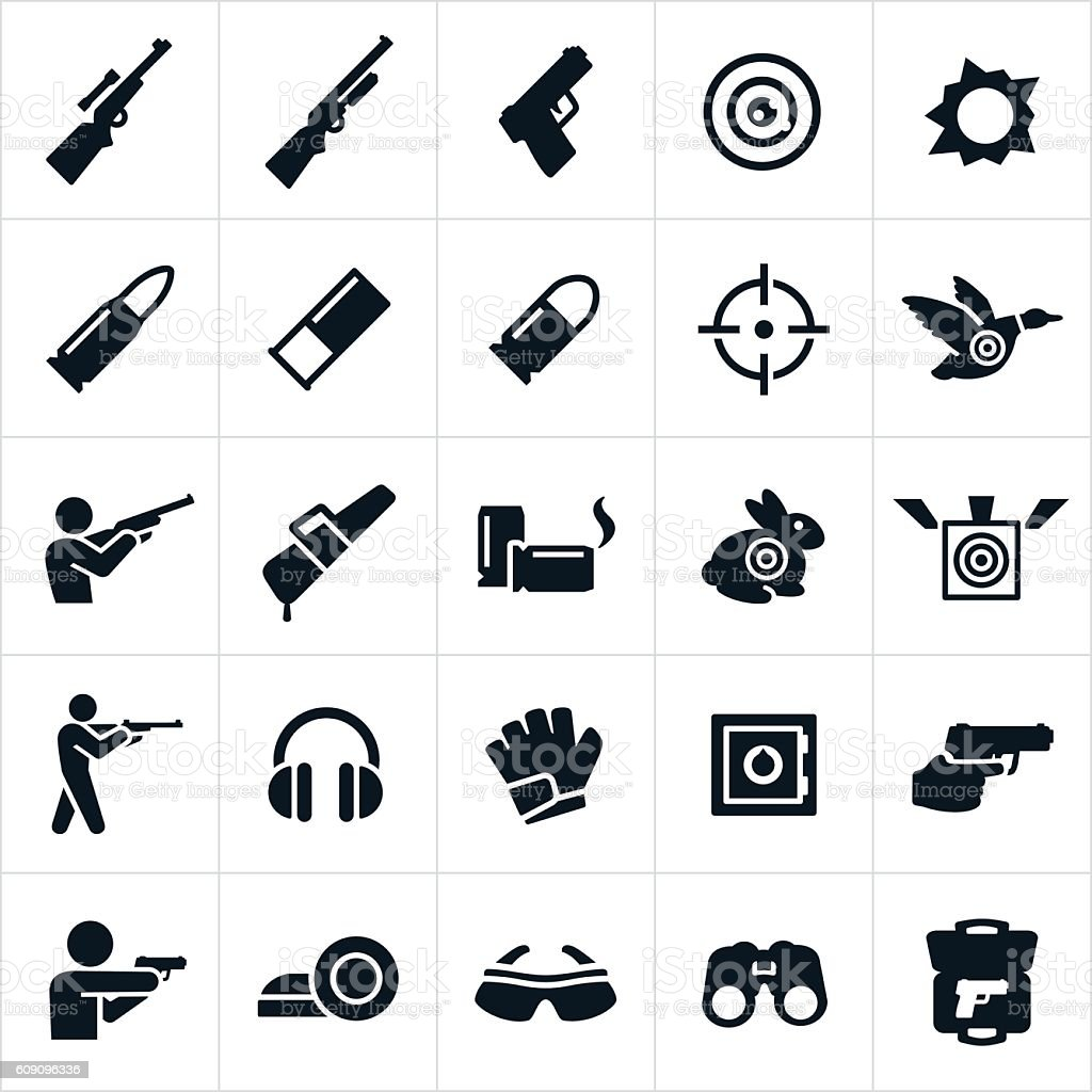 Shooting and Target Practice Icons vector art illustration