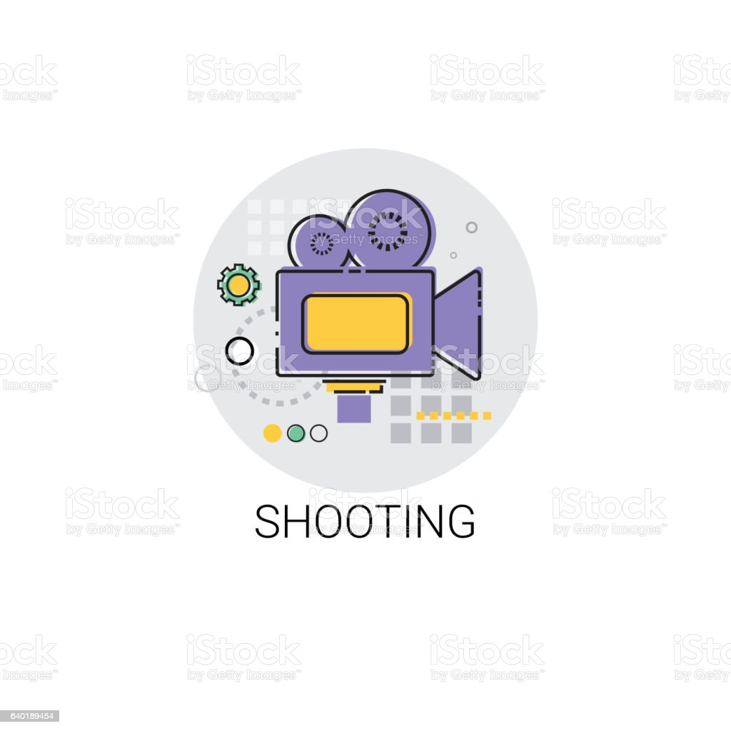 Shooting Camera Film Production Industry Icon vector art illustration