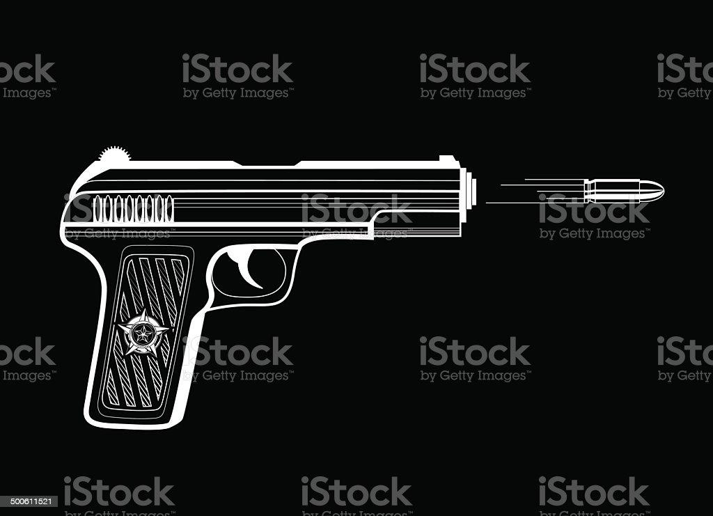 Shooting gun vector art illustration