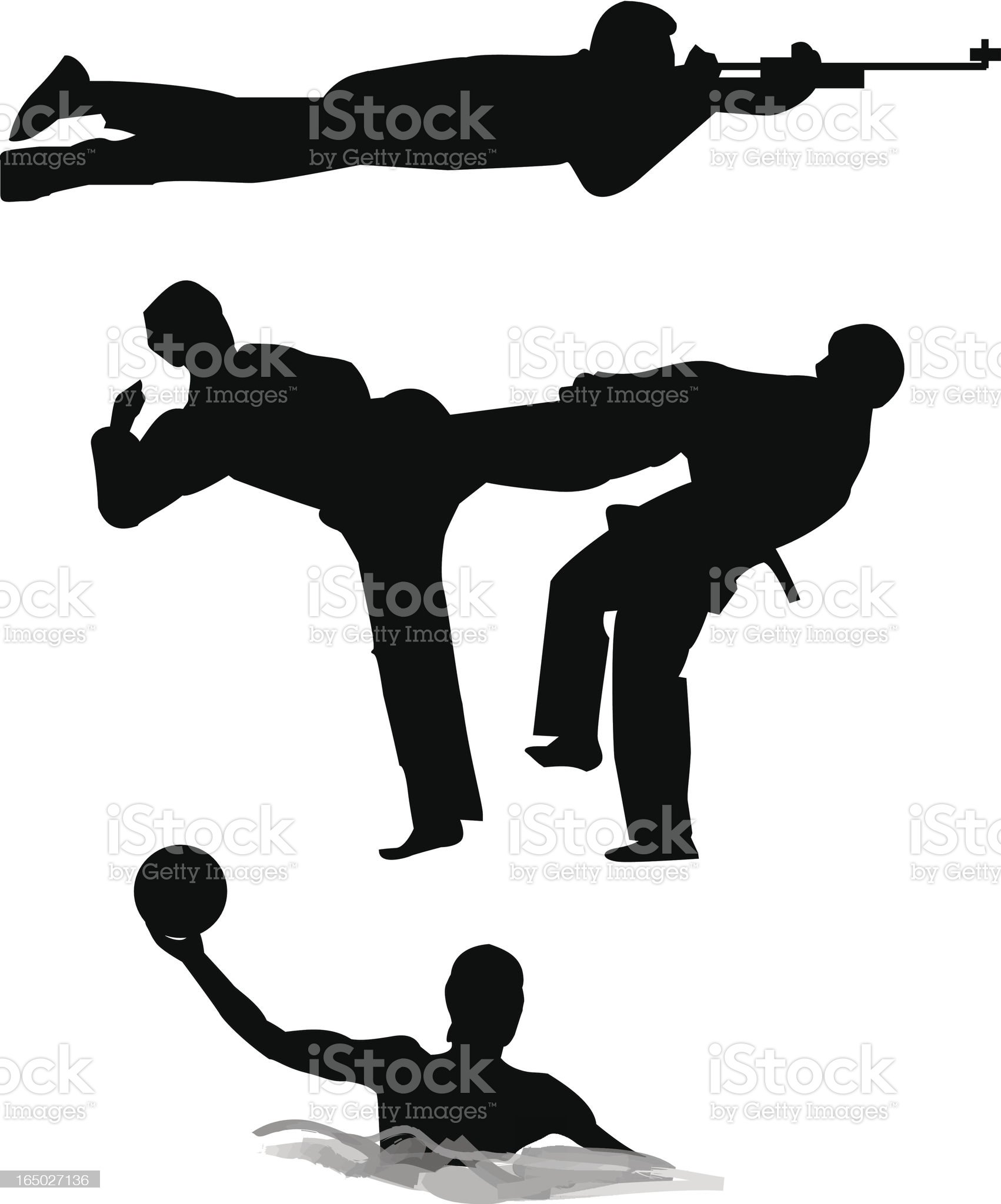 Shooting, Martial Art and water-polo royalty-free stock vector art