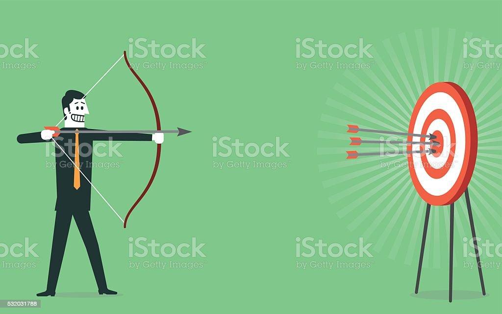 Shooting on Bull's-Eye of target vector art illustration