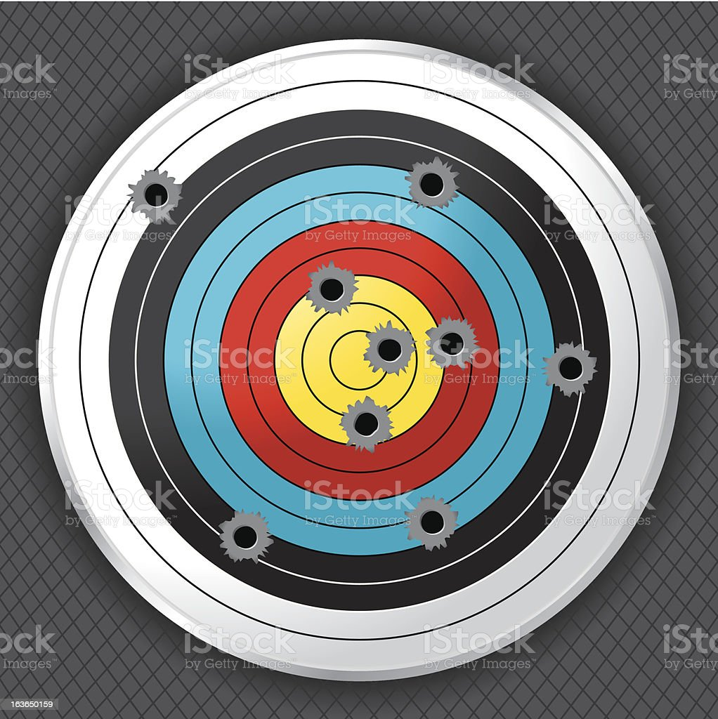 Shooting Range Gun Target with Bullet Holes royalty-free stock vector art