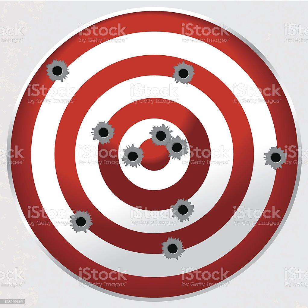 Shooting Range Gun Target with Bullet Holes vector art illustration