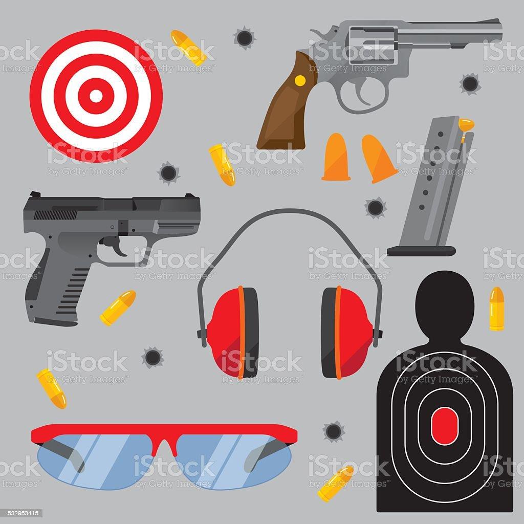 Shooting Range Items Flat vector art illustration