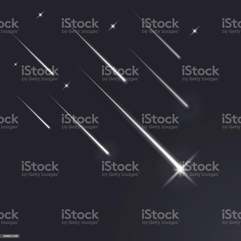 Shooting stars light vector art illustration