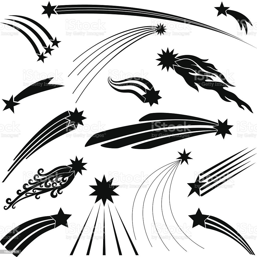 Shooting Stars vector art illustration
