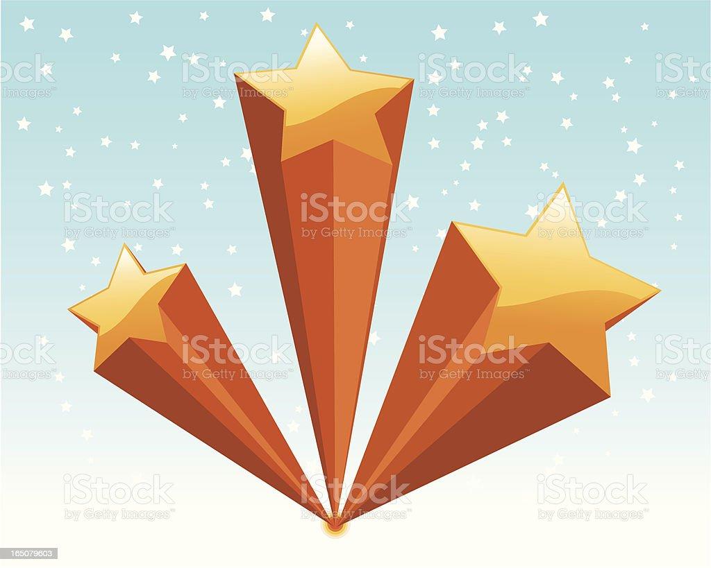 Shooting Super-Stars vector art illustration