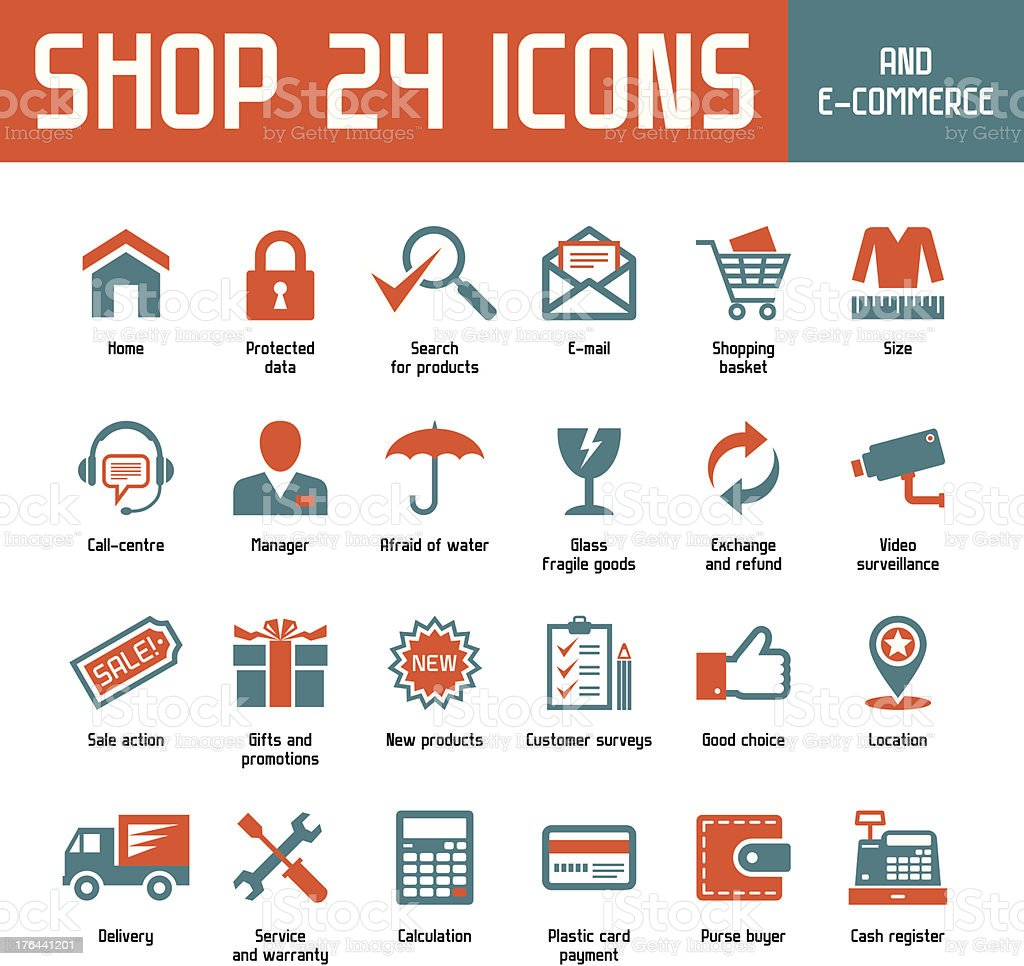 Shop 24 Vector Icons vector art illustration