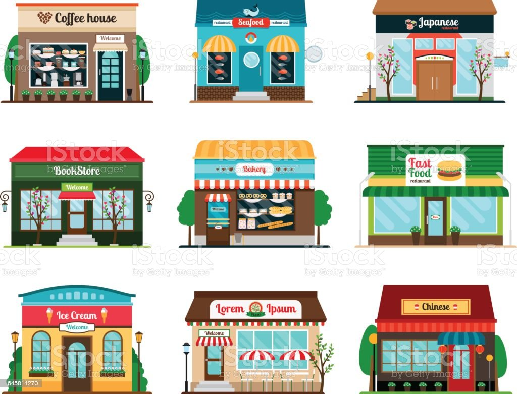 Shop and cafe colorful icons vector art illustration