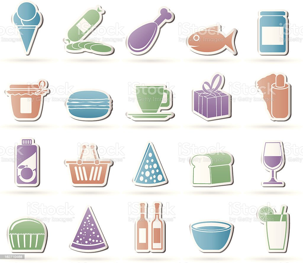 Shop and Foods Icons vector art illustration
