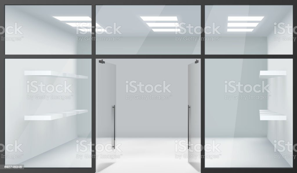 Türen shop  Shop Leere Innere Front Store Realistische 3dfenster Raum Offene ...