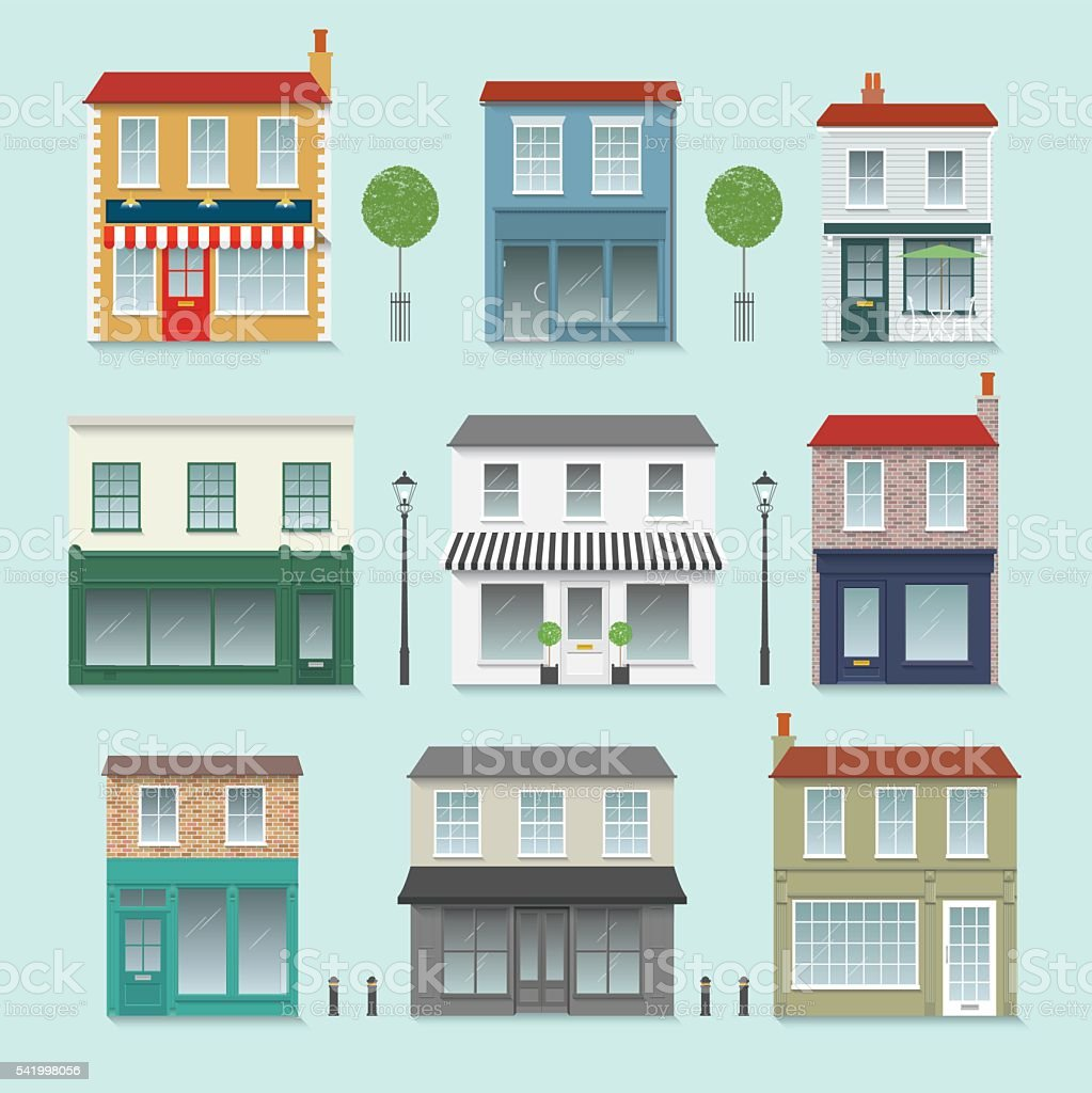 Shop Front Set inc. Trees, Street lights and Bollards vector art illustration