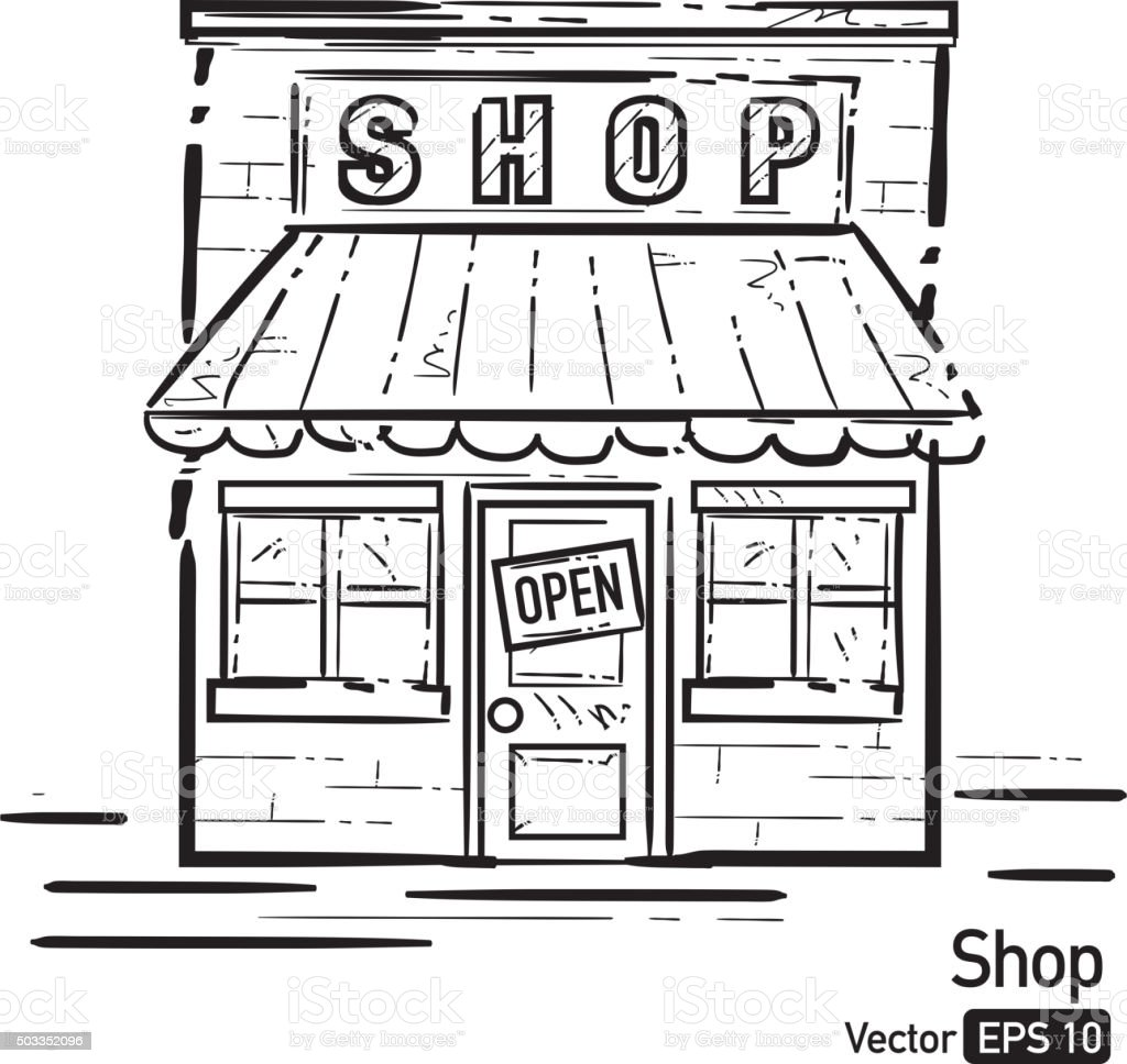 Shop front with awning black and white line art vector art illustration