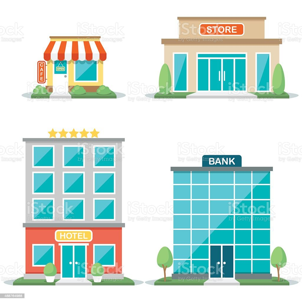 Shop fronts vector art illustration