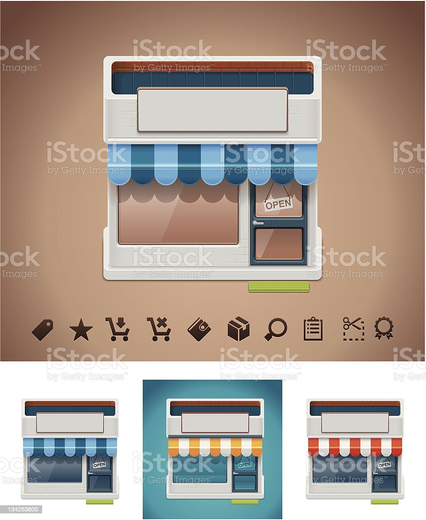 Shop icon with related pictograms royalty-free stock vector art