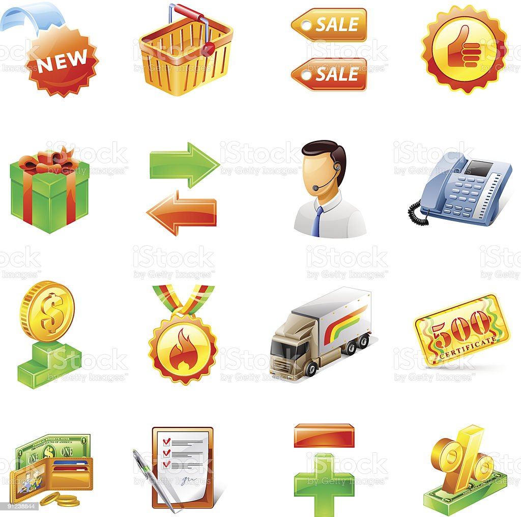 Shop icons: delivery, support, sale, money, shopping cart, new, price. royalty-free stock vector art