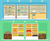 Shop interior with foods vector