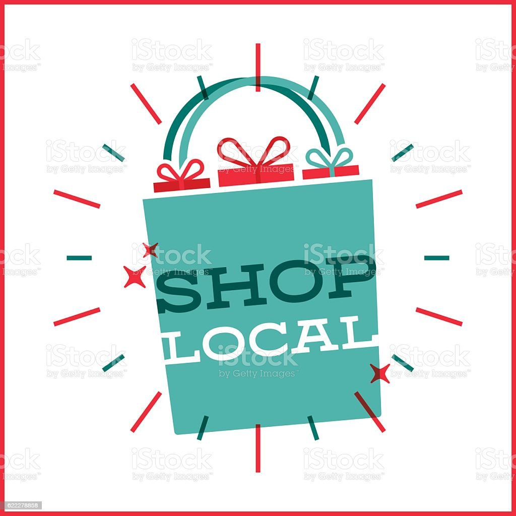 Shop Local Shopping Bag vector art illustration
