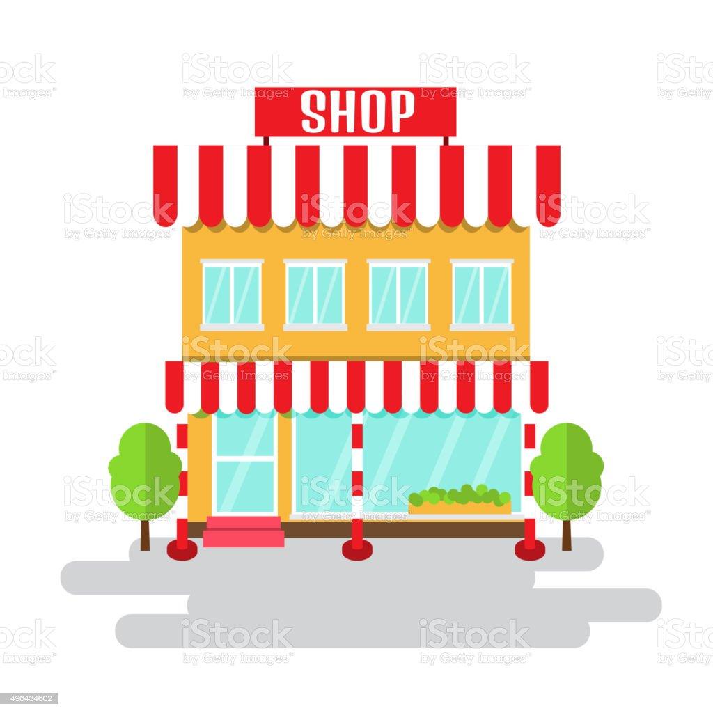 Shop of flat style building. Vector illustration. vector art illustration