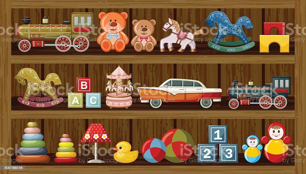 Shop of vintage toys. Vector vector art illustration