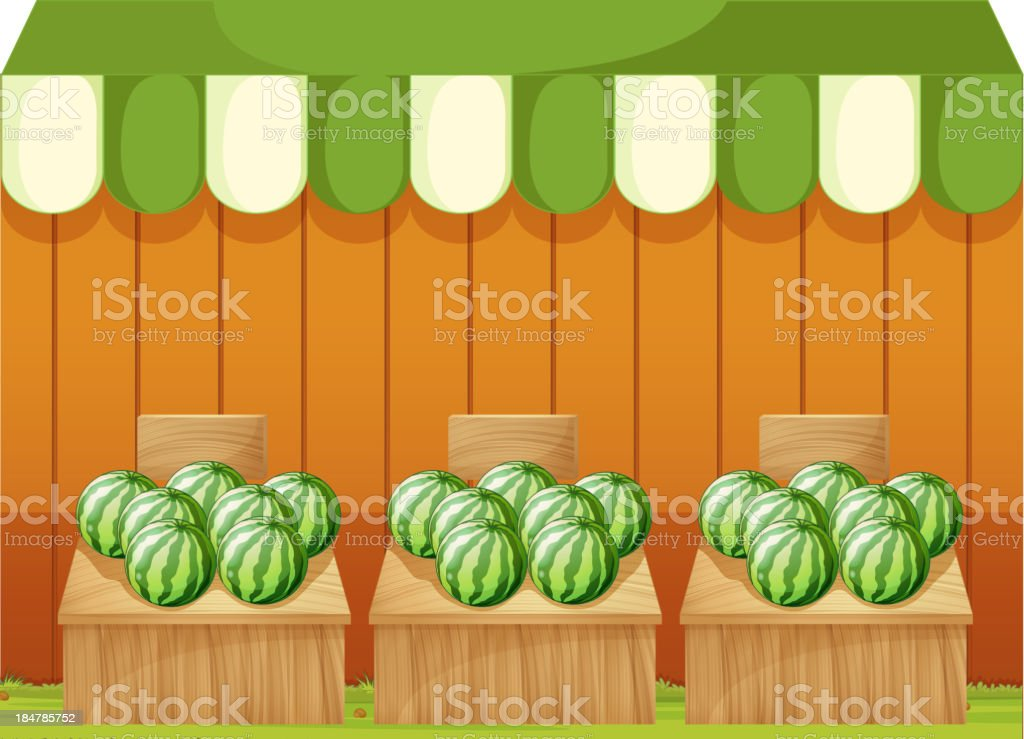 shop of watermelons with empty boards royalty-free stock vector art