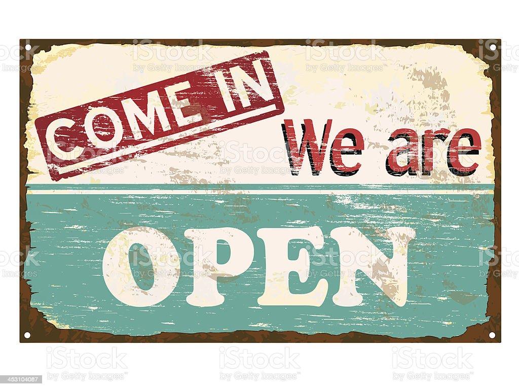 Shop Open Enamel Sign vector art illustration
