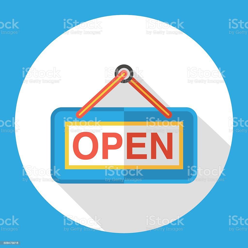 shop open flat icon vector art illustration