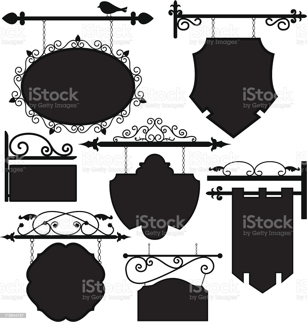 Shop Signage Frame Route royalty-free stock vector art