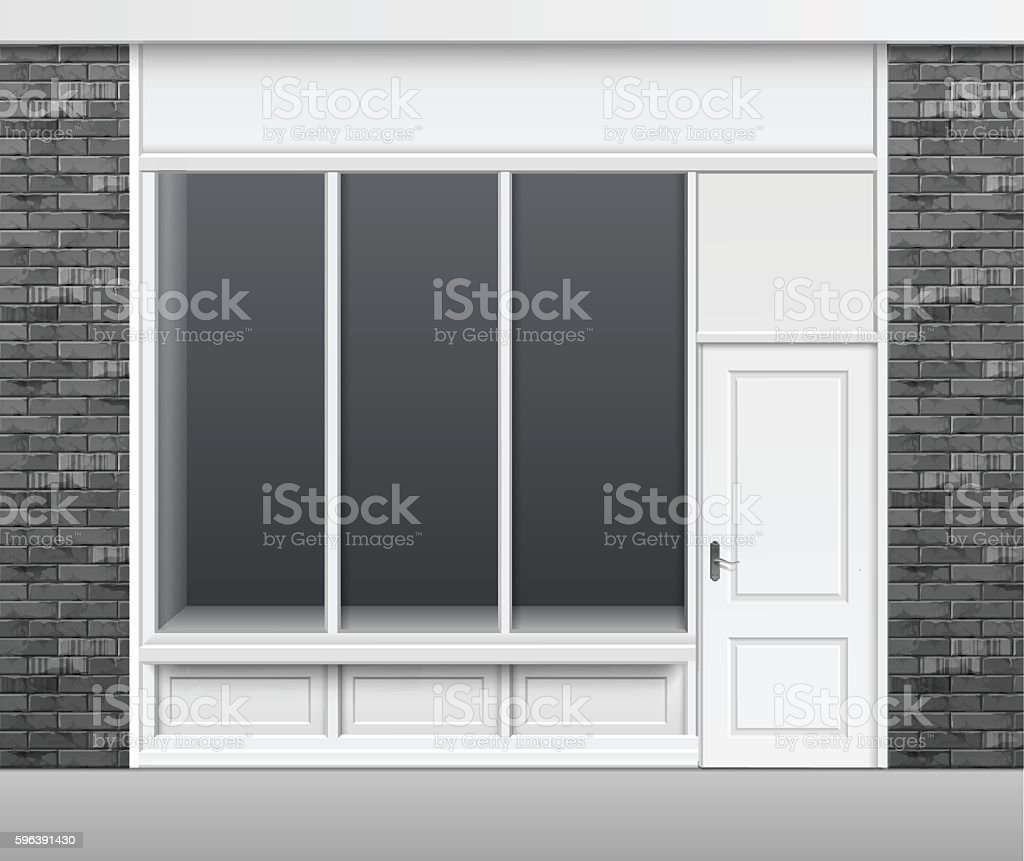 Shop Store Front with Windows Showcase and Door vector art illustration