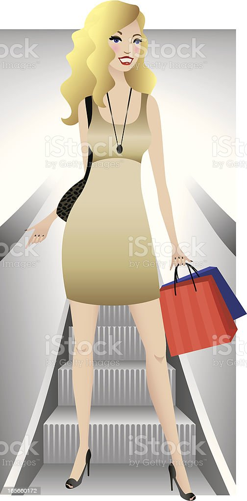 Shopaholic in the Summer royalty-free stock vector art