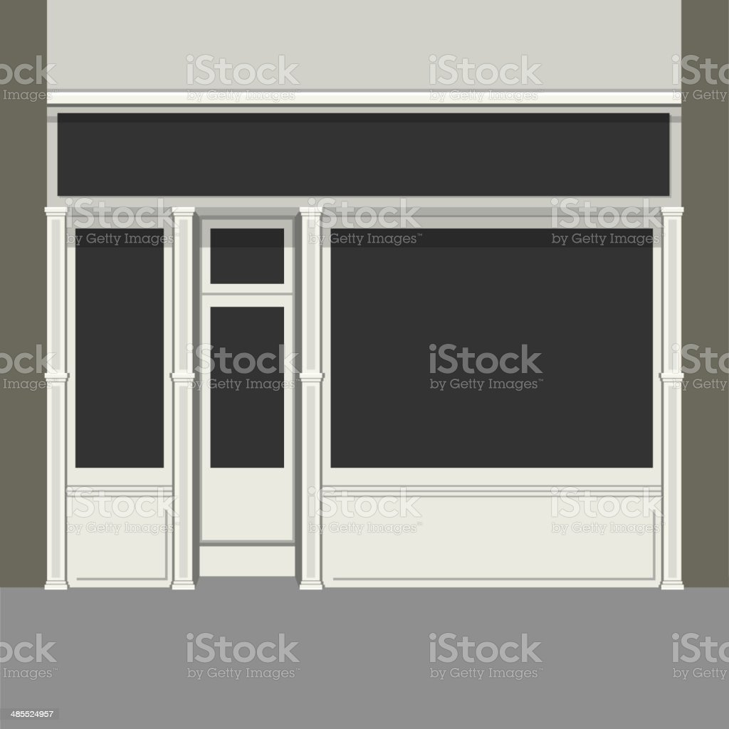 Shopfront with Black Windows. Light Store Facade. Vector. royalty-free stock vector art