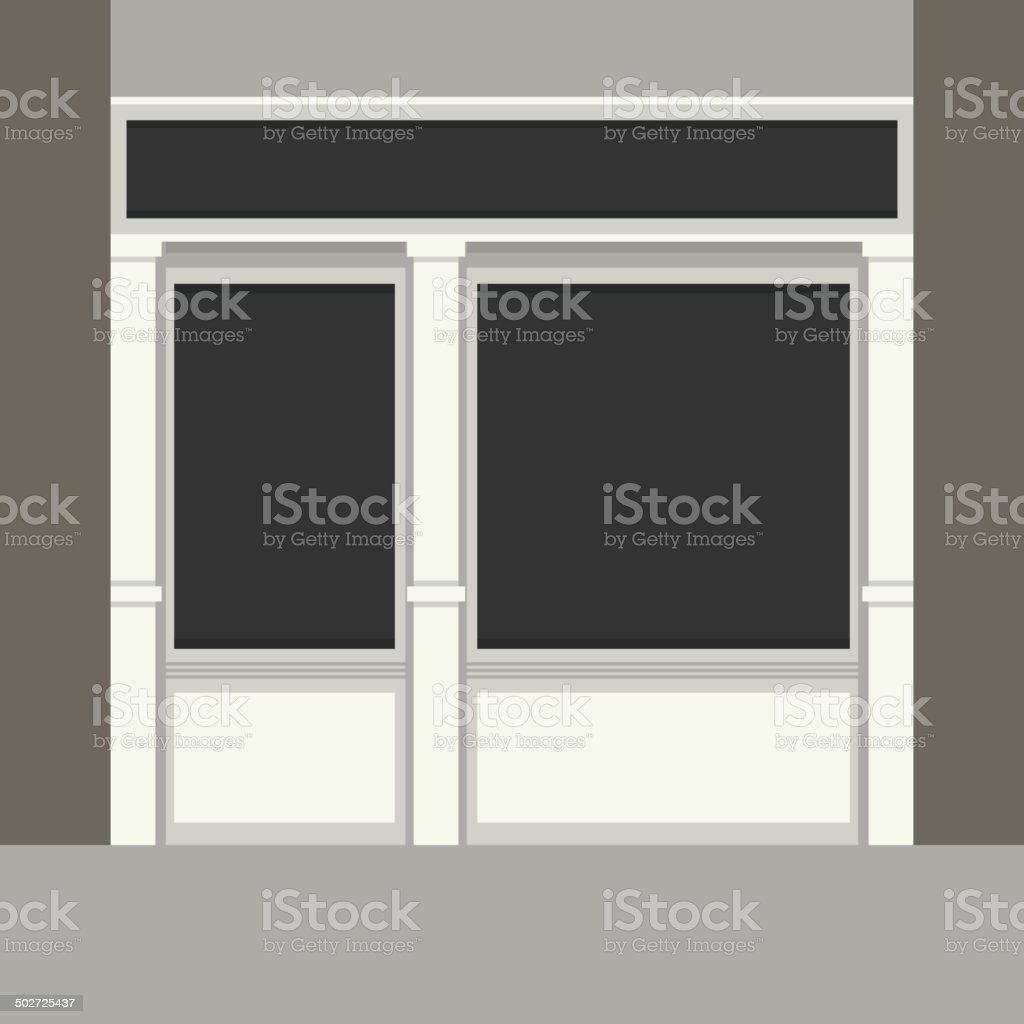 Shopfront with Black Windows. Light Store Facade. Vector. royalty-free stock vector art