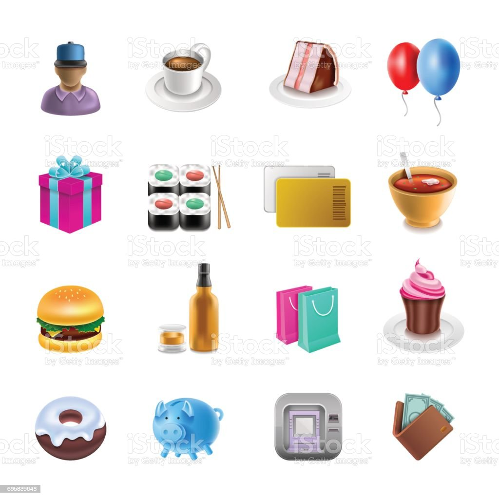 Shoping Icons vector art illustration