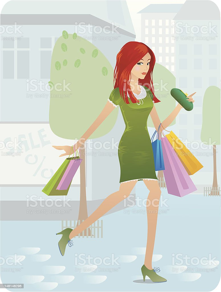 shopoholic royalty-free stock vector art