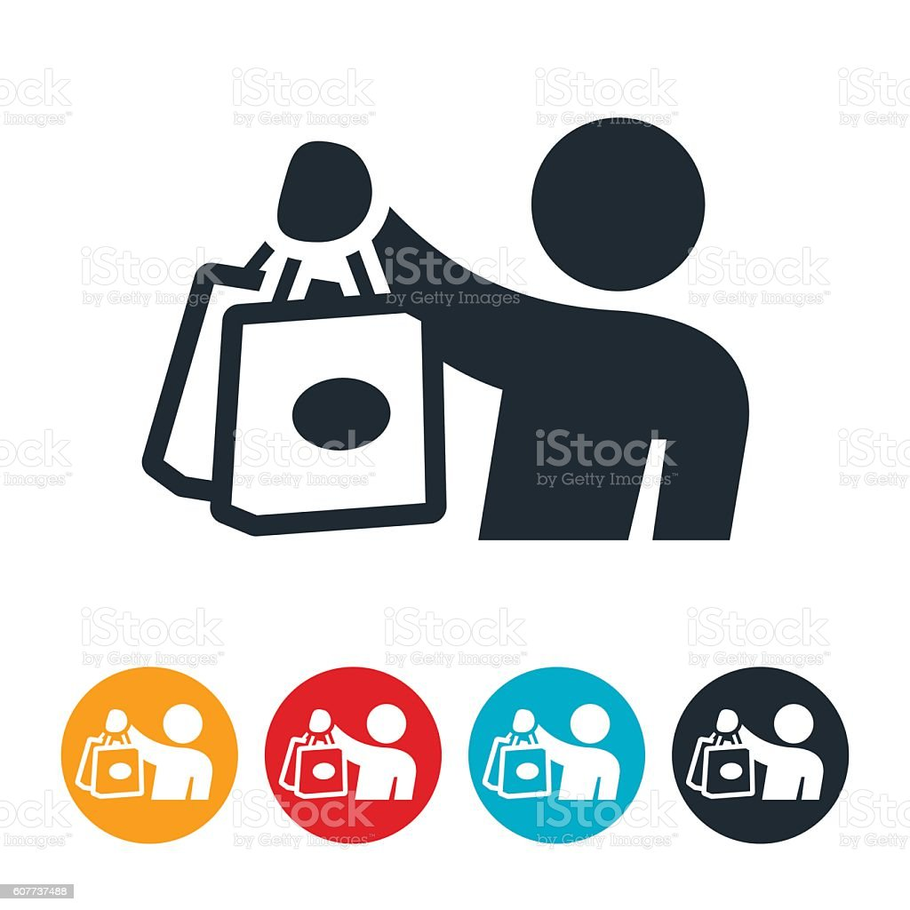 Shopper Holding Up Shopping Bags Icon stock vector art 607737488 ...