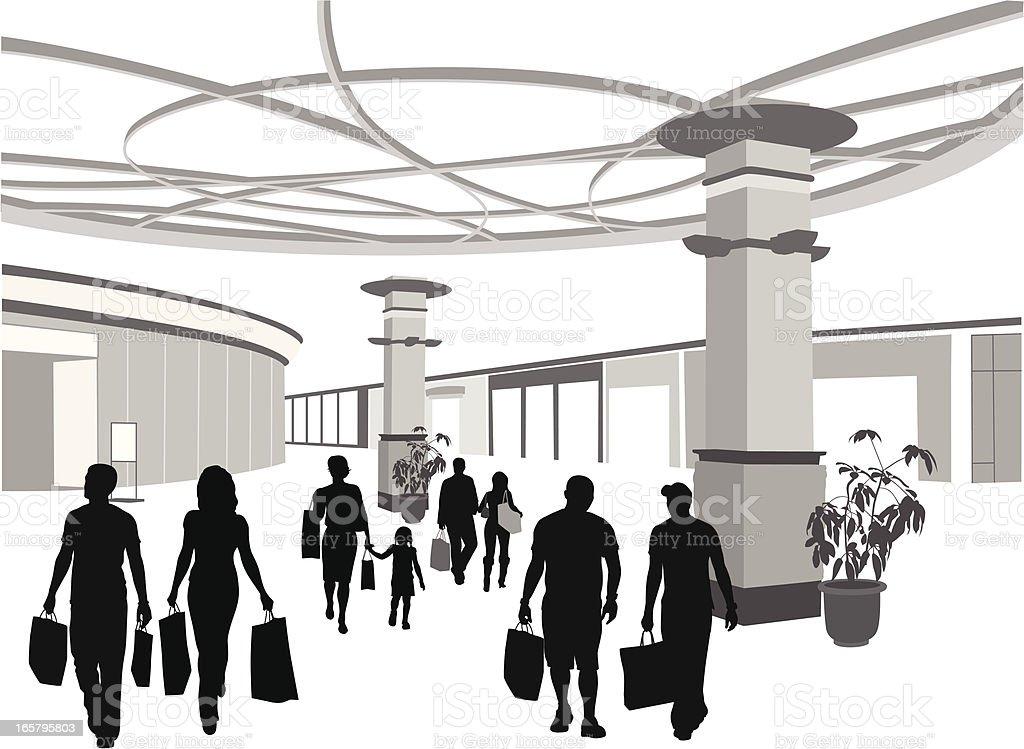Shoppin' Along Vector Silhouette vector art illustration